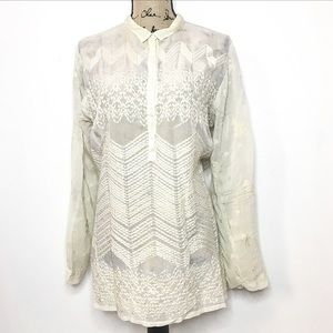Johnny Was Cream Half Button Embroidered Tunic